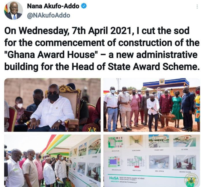 Akufo Addo cut sod for the beginning of an Award house