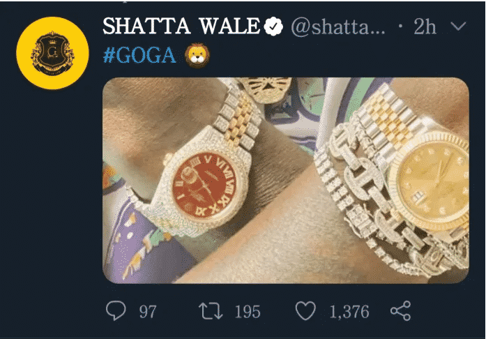 Shatta Wale flaunts the original version of the alleged fake Rolex of Medikal