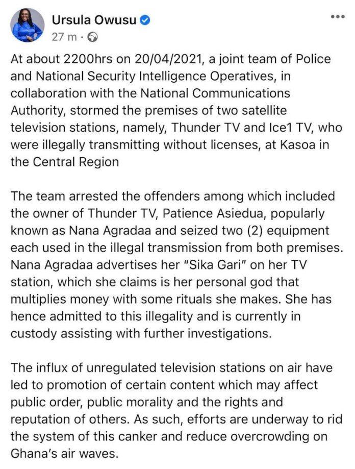 Nana Agradaa has been granted bail
