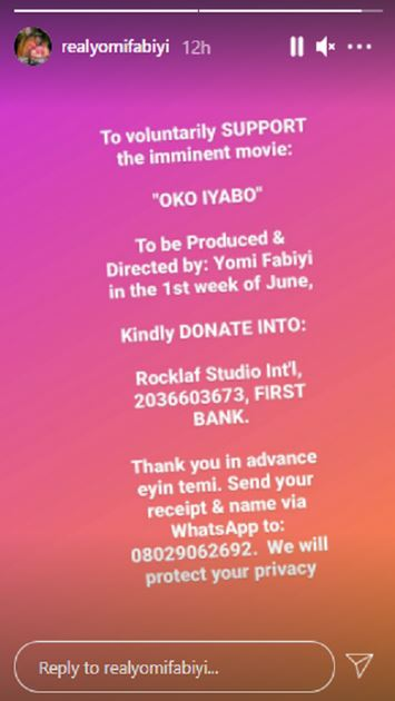 After mega protest for Baba Ijesha, Yomi Fabiyi begs Nigerians for money to produce his new movie