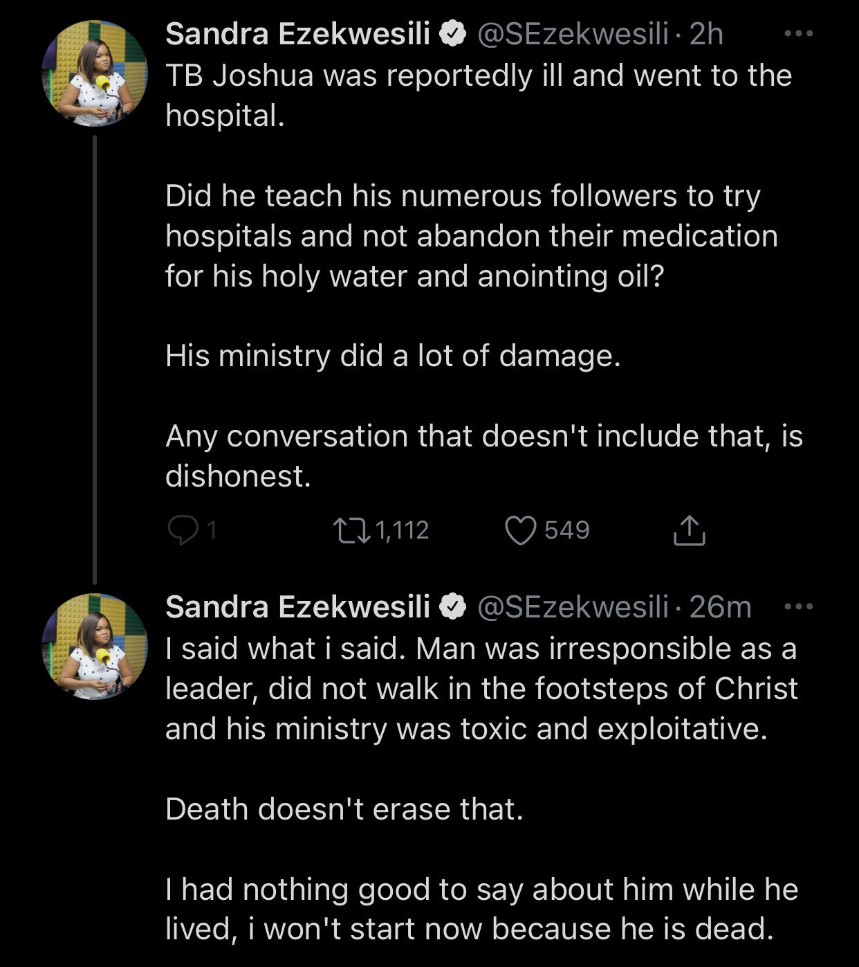 'TB Joshua didn't walk in footsteps of Christ, his ministry was toxic'